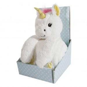 Hrejivá biela detská deka s hračkou jednorožca v dekoratívnej krabici