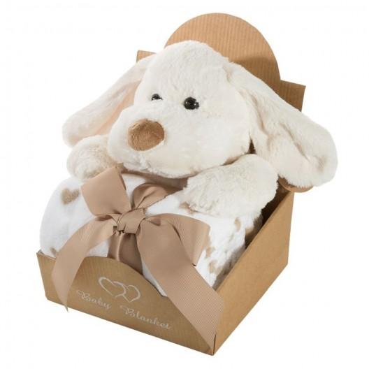 Biela detská deka so srdiečkami a hračkou psíka v darčekovom balení