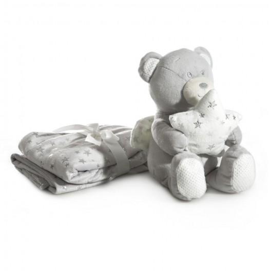 Darčeková sada pre dieťa hrejivá sivá deka a plyšová hračka medvedíka