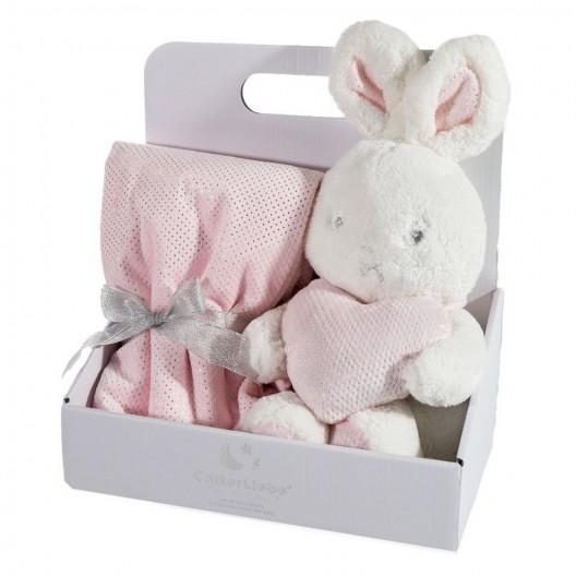 Elegantné darčekové balenie ružová detská deka s hračkou zajačika