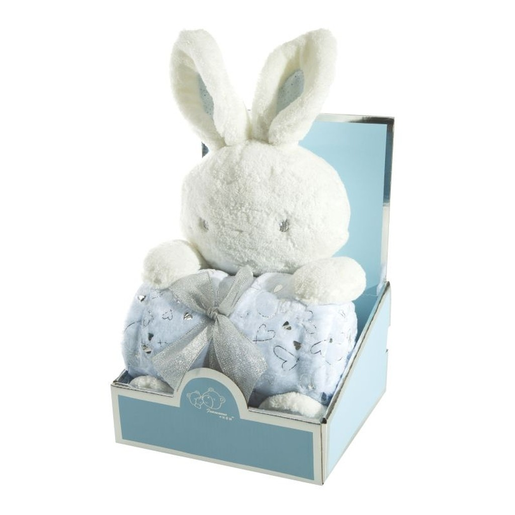 DomTextilu Modrá detská deka so srdiečkami pre chlapčeka a s plyšovou hračkou Šírka: 75 cm   Dĺžka: 100 cm 14522-42171