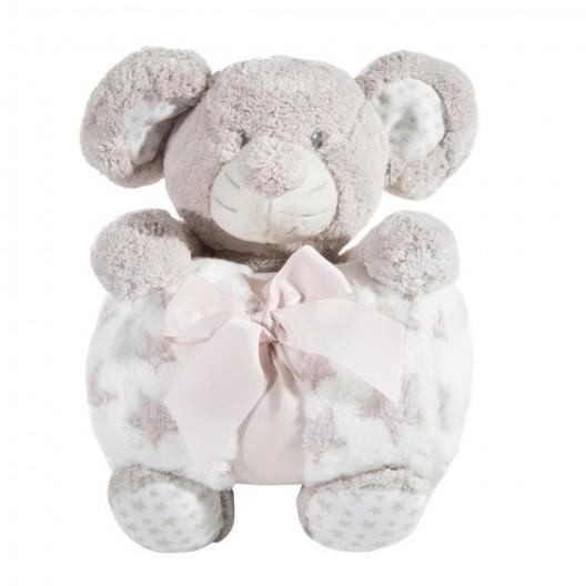 Krásne darčekové balenie detská hrejivá deka s plyšovou hračkou sloníka