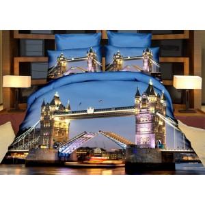 3D obliečky na posteľ modrej farby s mostom