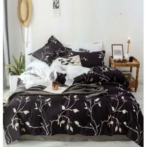 Originálne grafitovo hnedé posteľné obliečky s bielou potlačou listov