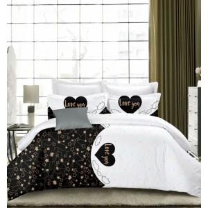 Krásna obojstranná posteľná obliečka bielo čierna LOVE YOU