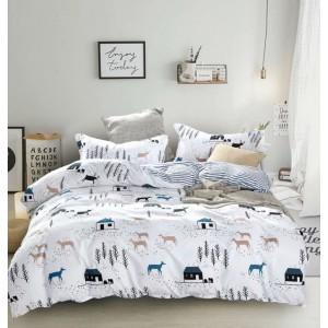 Originálna obojstranná biela posteľná obliečka s motívom jeleňov