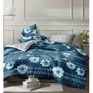Elegantné modré posteľné obliečky z mikrovlákna s motívom kvetov a nôt