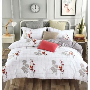 Krásne obojstranné posteľné obliečky biele s motívom kvetín a kára