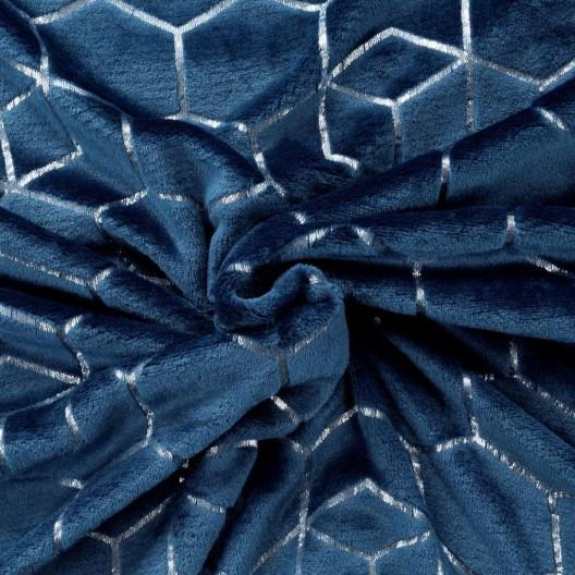 Krásna tmavo modrá deka z mikrovlákna s módnym strieborným vzorom