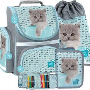 Trojčasťový školský set v sivo modrej farbe s mačiatkom