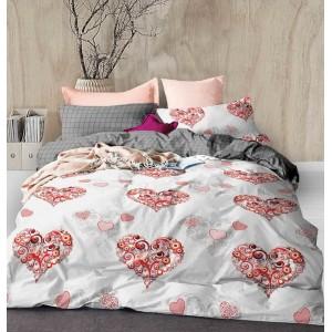 Romantické obojstranné posteľné obliečky s trendy motívom srdca