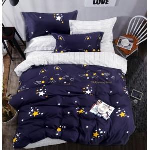Krásne obojstranné posteľné obliečky modré s motívom hviezd a mačky