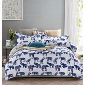 Bielo modré posteľné obliečky obojstranné s motívom slonov
