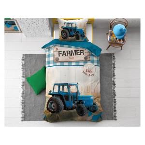 Bavlnená posteľná obliečka pre chlapca s veľkou potlačou traktora