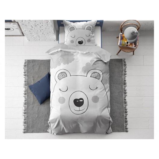 Detská sivá bavlnená posteľná obliečka s motívom spiaceho medveďa