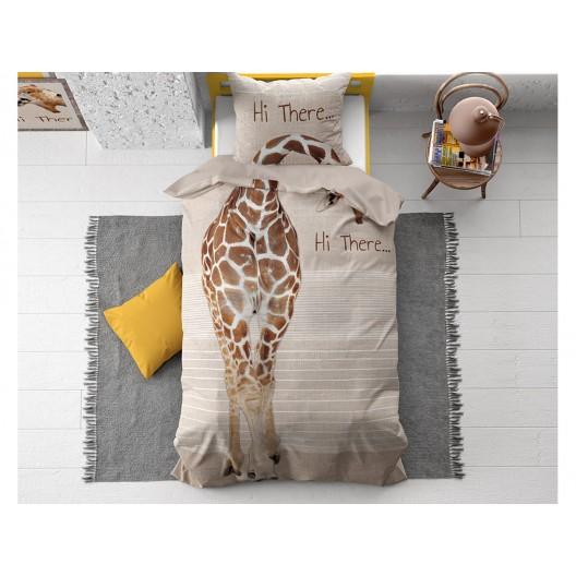 Originálna detská béžovo hnedá bavlnená obliečka s motívom žirafy