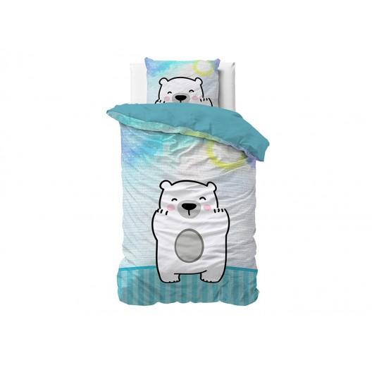 Bielo modrá detská posteľná obliečka s motívom medveďa