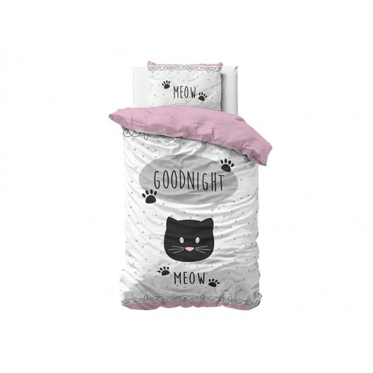 Krásna detská bavlnená obliečka na posteľ pre dievčatá s motívom mačky