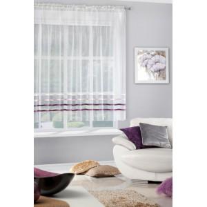 Krémová záclona krátka s ozdobnými horizontálnymi fialovými pruhmi