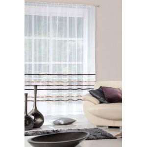 Krémová záclona do obývačky v krémovej farbe s hnedo zlatými pruhmi