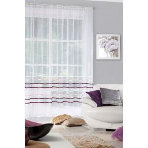 Štýlová dlhá nariasená záclona krémovej farby s fialovými pruhmi