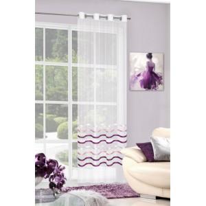 Ozdobná hotová dekoratívna krémová záclona s fialovými lesklými pruhmi