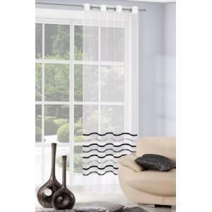 Hotová záclona do obývačky s lesklými sivo čiernymi pruhmi