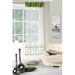 Štýlová krémovo zelená záclona s dekoratívnymi lesklými pruhmi