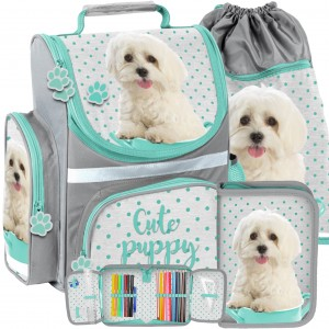 Školská taška pre deti s motívom psa v trojkombinácii taška peračník a vak