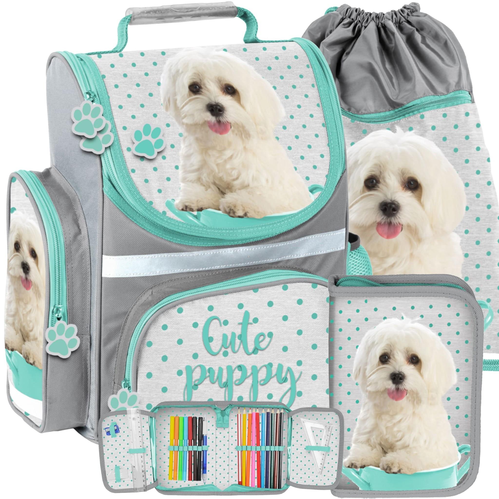 DomTextilu Školská taška pre deti s motívom psa v trojkombinácii taška peračník a vak 14593