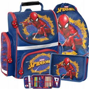 Trojdielna školská taška pre chlapcov v trendy motíve spiderman