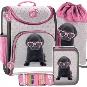 Trojdielna školská taška pre dievčatá so psom so srdiečkovými okuliarmi