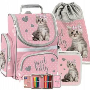 Kvalitná školská taška pre dievčatá v trojdielnej sade a sivo ružovej farbe