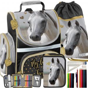 Trojset krásnej ergonomickej školskej tašky pre dievčatá s motívom koňa