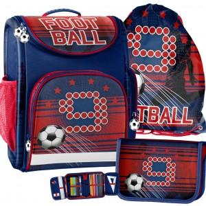 Trojdielna školská taška pre prvákov s motívom futbalovej lopty