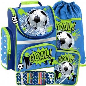 Štýlová a kvalitná školská taška pre chlapca futbalistu v trojdielnom sete