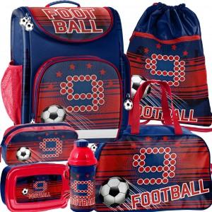 Šesť dielna sada ergonomickej školskej tašky pre chlapcov futbal