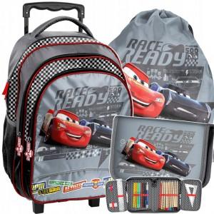 Trojčasťová sada disney školskej tašky CARS na kolieskach s rúčkou