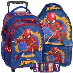 Originálna školská taška spiderman kufor na kolieskach v troj kombinácii