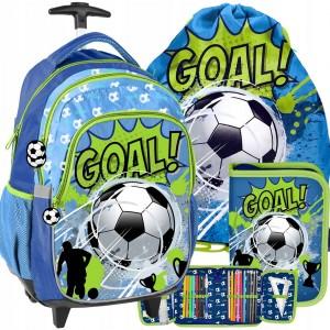Štýlová školská taška na kolieskach pre chlapca futbalistu v troj kombinácii