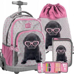Dievčenská ružová školská taška na kolieskach v trojsade s motívom psa