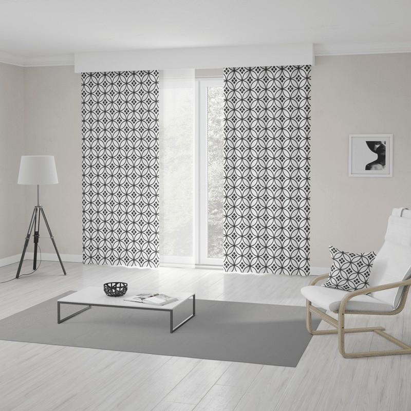 Moderné škandinávske závesy šité na mieru s trendy bielo čiernym vzorom