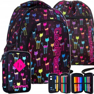 Školská taška batoh pre dievčatá v trojčlennej sade s motívom mačiek