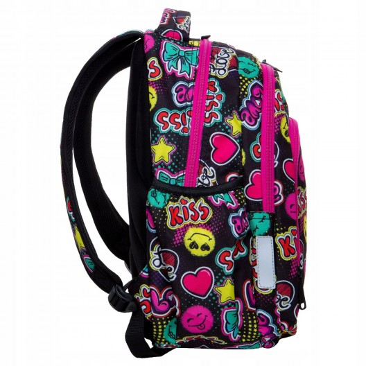 Trojčlenný krásny školský batoh pre dievčatá s motívmi kiss a emogi