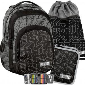 Čierno sivý batoh pre stredoškolákov v sade s vakom a peračníkom
