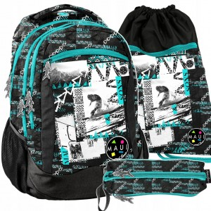 Štýlový školský batoh pre chlapcov v trojkombinácii s motívom snowboard