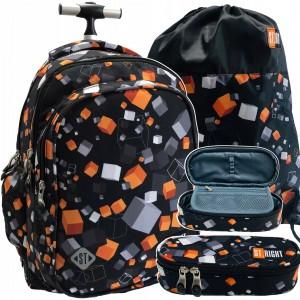 Štýlový školský batoh na kolieskach v trojsade s peračníkom a vakom
