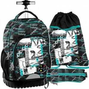 Trojčasťový školský batoh na kolieskach s výsuvnou rúčkou pre chlapcov