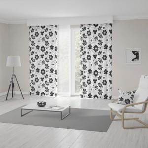 Bielo čierny záves šitý na mieru s kvetinovým vzorom