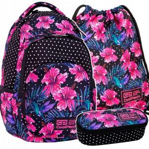 Dievčenský ruksak s peračníkom a vreckom v ružovej farbe